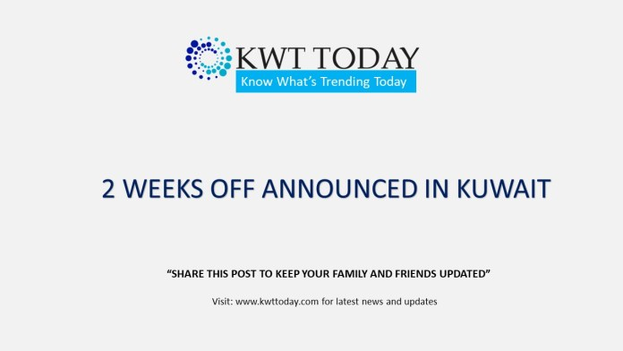 2 WEEKS OFF ANNOUNCED BY CABINET MINISTERS