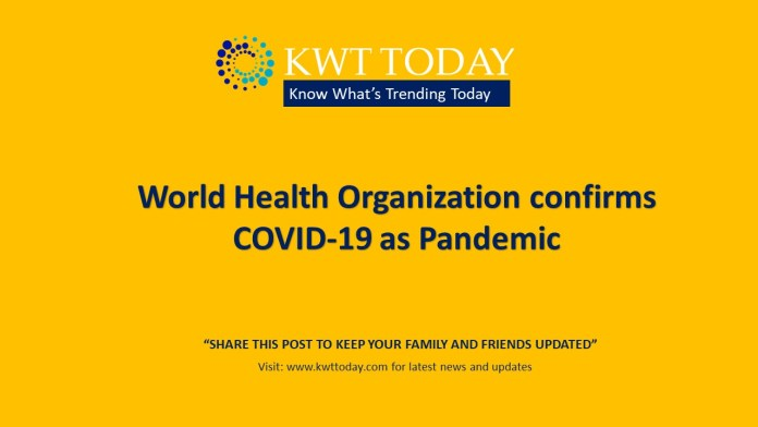 World Health Organization confirms COVID-19 as Pandemic
