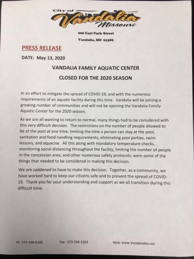 vandalia aquatic center closing letter 2020