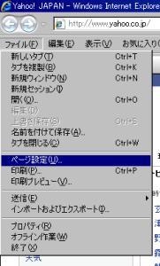Internet Exploer ページ設定