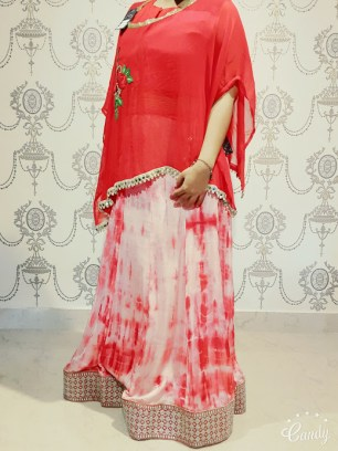 Cape lehenga in red with silver border