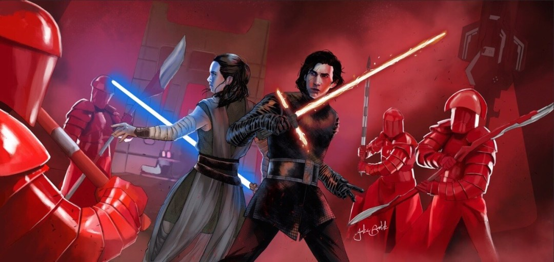 Rey And Kylo by Jake Bartok