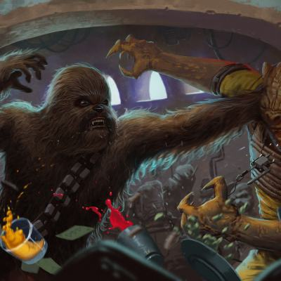 Chewie vs Bossk by Luke Maddox