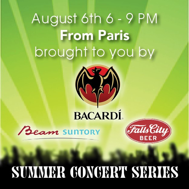 aug 6 1 - Summer Concert Series:  From Paris sponsored by Bacardi, Beam-Suntory & Fall City Beer