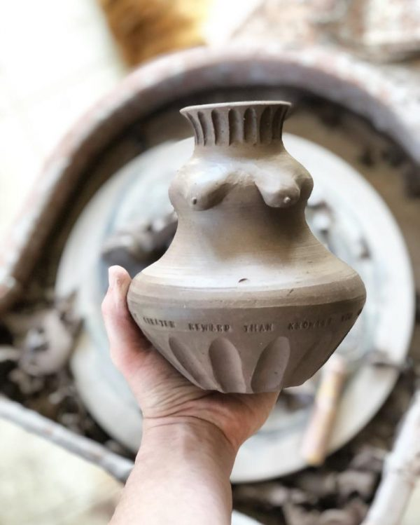 """Leather hard piece from """"The Kentucky Women of Water and Stone"""" project  The quote comes from local community member and minister, Megan Huston: """"There is no greater reward than knowing you are exactly where you're supposed to be."""""""