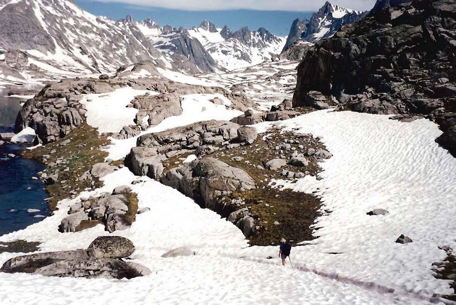 Kyield founder Mark Montgomery hiking into Titcomb Basin WY, July 1995 - taken by his wife Betsy-Genta Montgomery