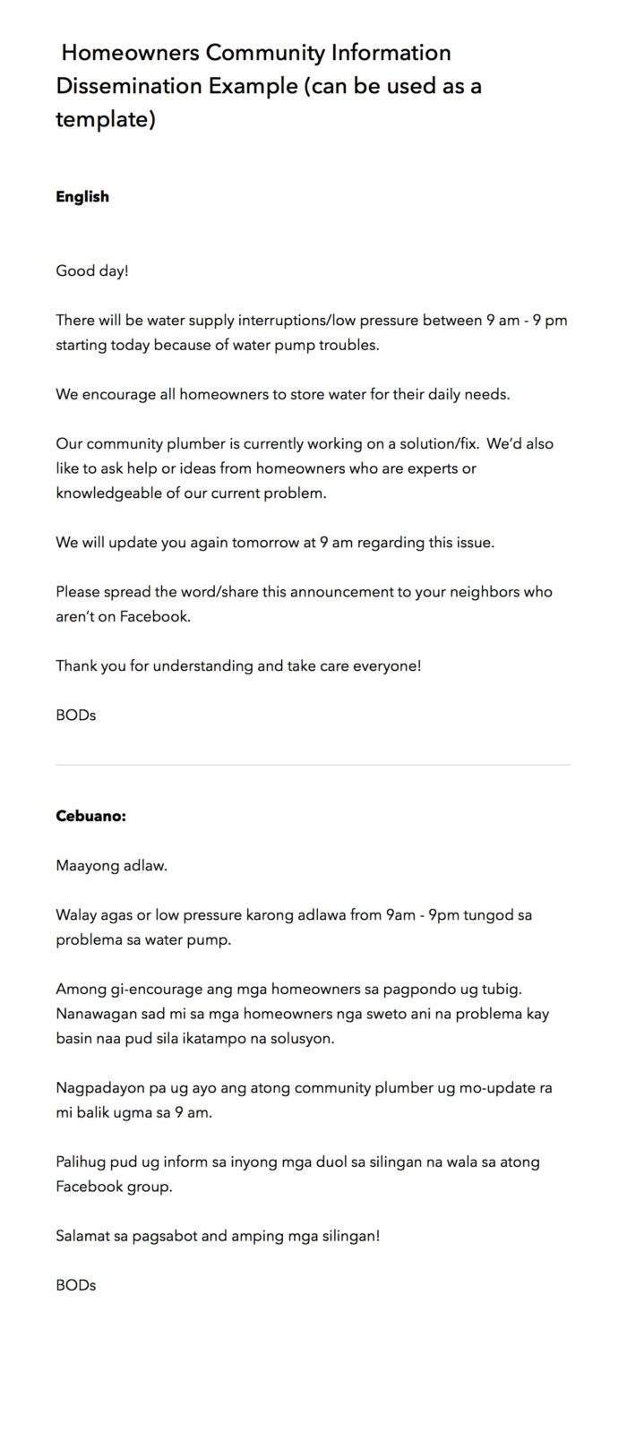Homeowners Community Information Dissemination Example (can be used as a template)