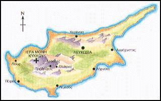 Χάρτης της νήσου Κύπρου.