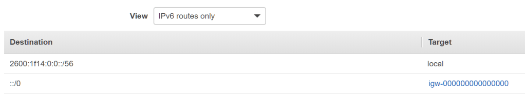 Screenshot of the route table filtering for IPv6 routes only, with the VPC endpoints no longer listed