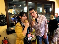 kyle and ashley eating ice cream