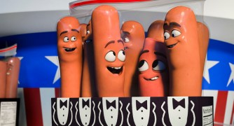 Carl (Jonah Hill, 2nd), Barry (Michael Cera, 3d) and Frank (Seth Rogen, rt) in Columbia Pictures' SAUSAGE PARTY.