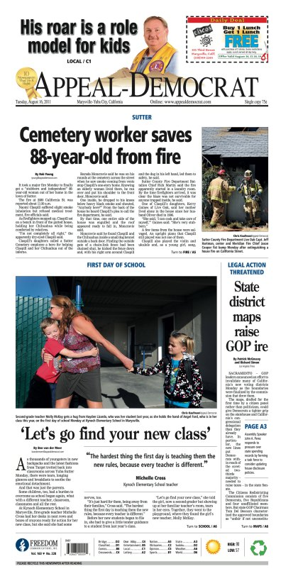 Front page, August 16, 2011