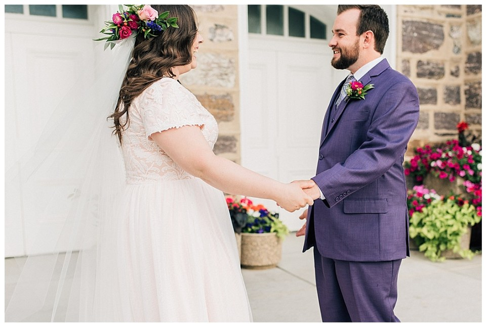Purple Suit Groom Pink Dress Bride