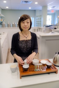 Shu-Chuan Chen perpares tea in her store, Culture Tea. Shu-Chuan and her husband, Alexander Higle have opened the first tearoom of its kind in Wilton, Conn., Culture Tea, which offers many exotic varieties like the fermented tea-cakes called Pu-erh, and also classes on the education of such teas. August 24, 2016.