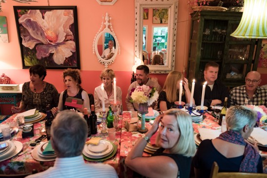 Diners, many of whom did not know each other beforehand, meet at the farmhouse table styled dinner at The Nook in Black Rock, Conn on Sept. 23 2016.