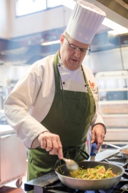 Executive Chef and Director of Culinary Operations, Michael Luboff prepares a dish using the veggie noodles in the commercial kitchen at Stew Leonard's on April 15, 2016.