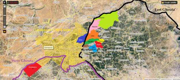 Locations of the regime's gas attacks with sarin on August 21, 2013