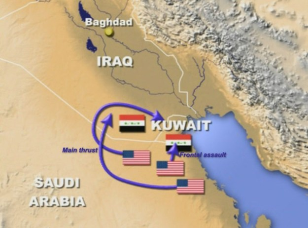 """The invasion path of Operation Desert Storm, the Allied effort to get Saddam Hussein out of Kuwait. Launched from Saudi Arabia, it tricked the Iraqis with the direct move into western Kuwait, which they were expecting, and the """"hook"""" through the Iraqi desert into northern Kuwait, which they were not."""