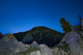 Found this cool spot to shoot the stars, rocks, and peaks in Yellostone National Park