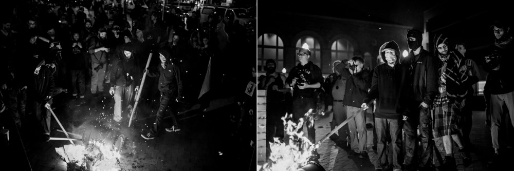 anarchist burning clothing