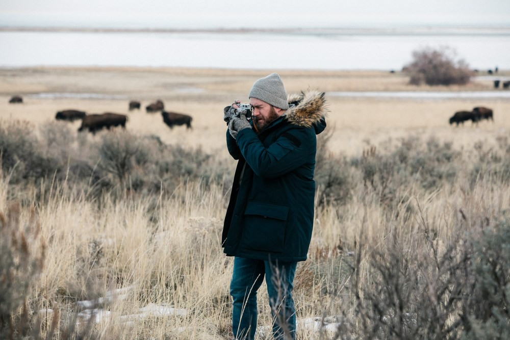 nordic down parka from jcrew photographing bison