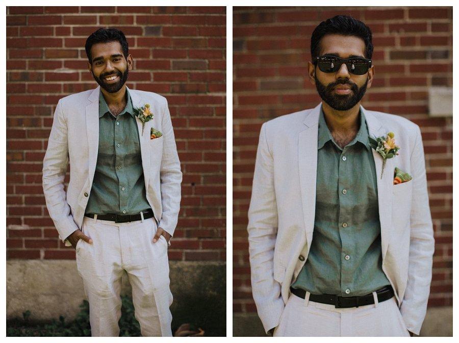 Champaign wedding groom
