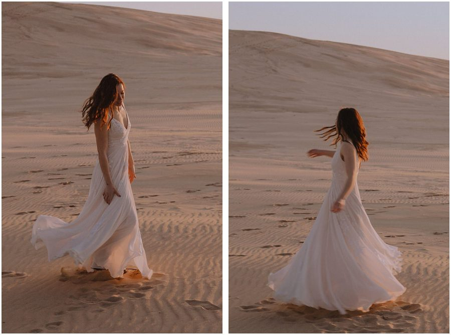 desert inspired elopement bride twirling in her dress