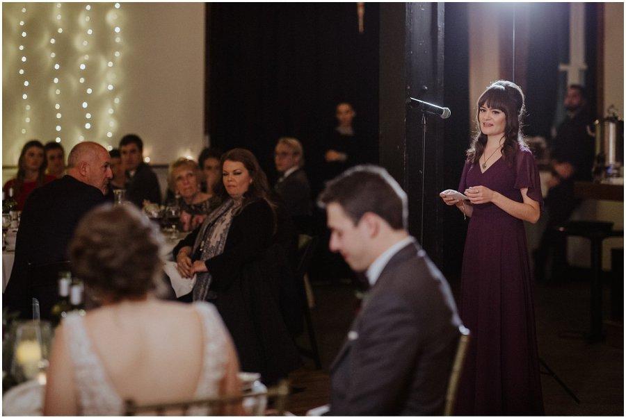 bridesmaid giving a toast