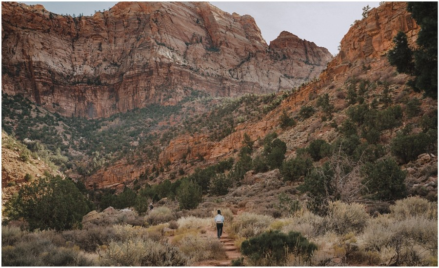 Person walking through Zion National Park best place to elope in utah