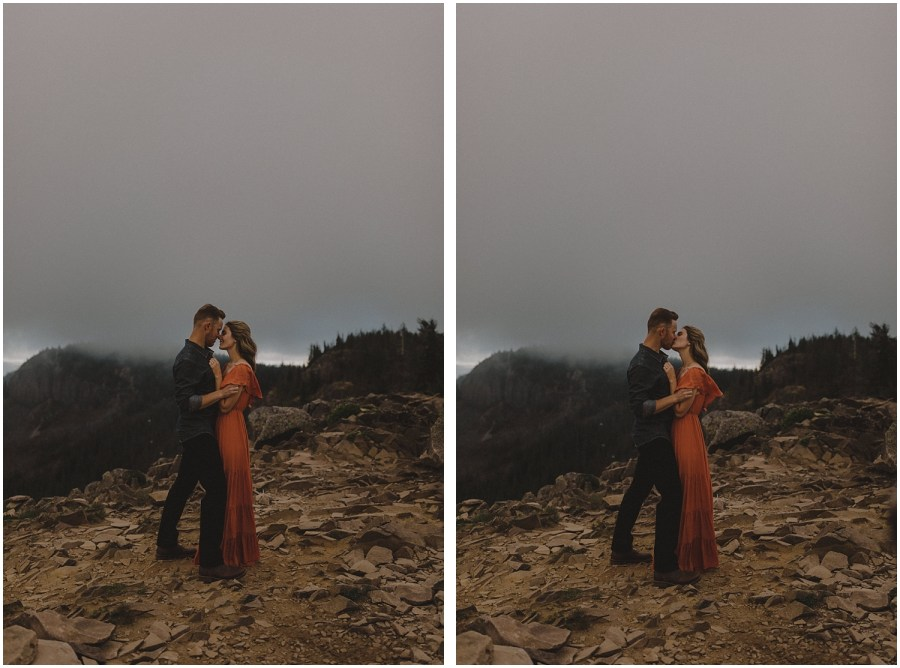 two photos of a couple kissing