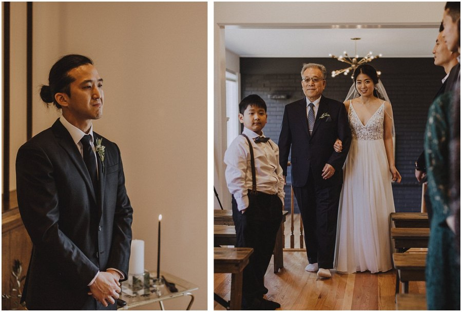 groom crying as he watches his bride walk down the aisle Chicago wedding photographer kyle szeto