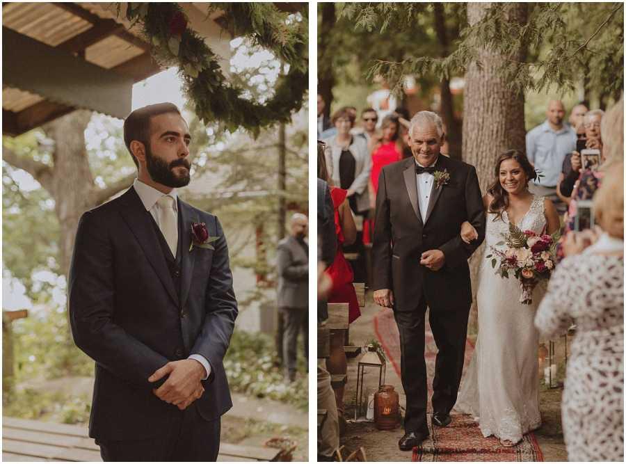 groom watching bride walk down the aisle