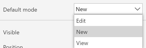 Form Default Mode Options