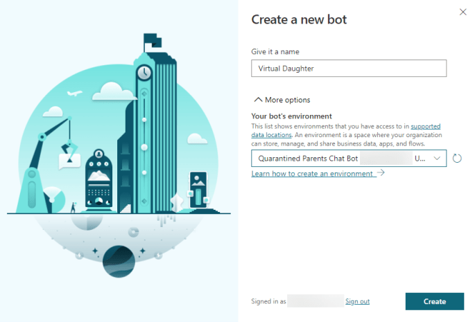 Enter a name for the bot and select the environment you just created