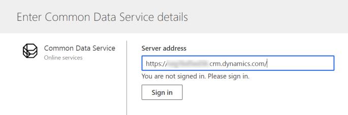 Enter URL for Common Data Service