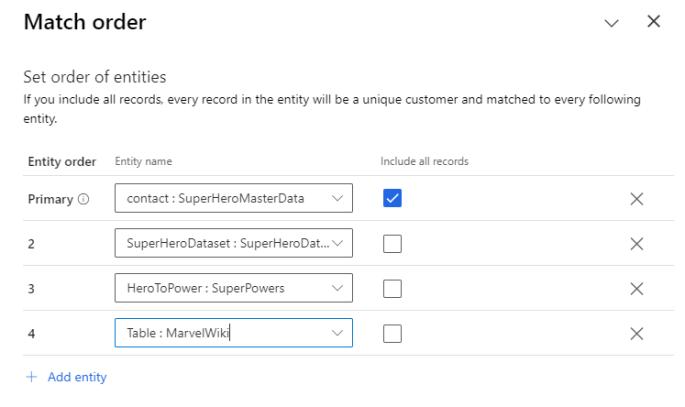 Customer Insights Set Match Order