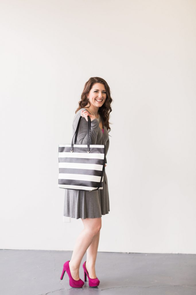 Stella & Dot offers unique and stylish pieces of jewelry and accessories for every woman on your gift-giving list. Perfect for bridesmaids gifts, their options range from minimalist and sleek to bold and flashy. Featured here is the Stella & Dot Fillmore Tote in Black/Cream Stripe.