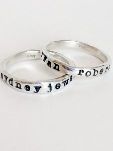 If you're looking for a unique gift idea for your Bridesmaids, then the Lisa Leonard Personalized Stacking Rings are a great option. Any gifts with personalization are extra thoughtful and always well received. These rings are organically shaped and can be stamped with any name or nickname.
