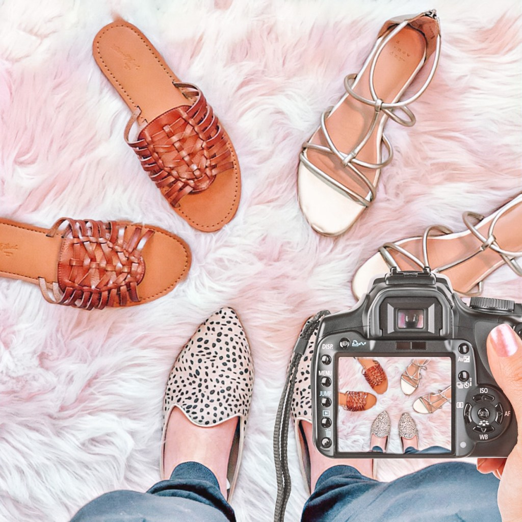 The perfect summer shoes - huarache sandals, gold strappy sandals with a zip back, and leopard spot slide mules that can be dressed up or down.