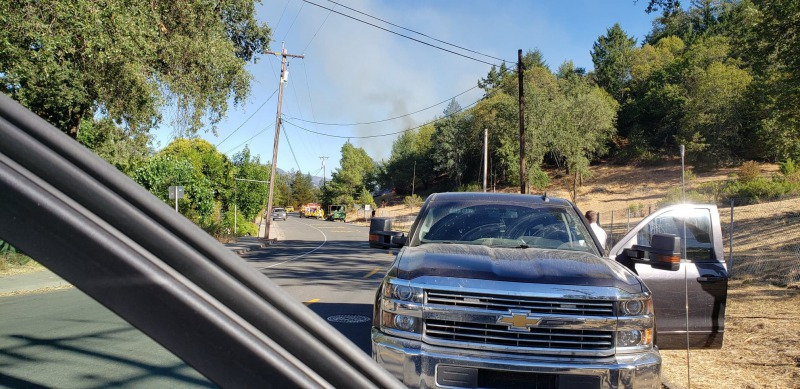 Smoke rising from the South Dora Fire.