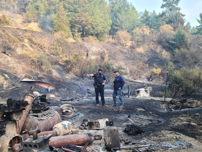 Firefighters in the The Bell Fire [Images graciously shared from Lauren Schmitt of KMUD--consider donating to an invaluable community resource]