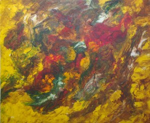 Les roches, art abstrait, Kyna de Schouël artiste peintre