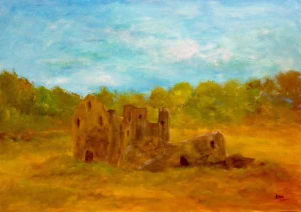 Ruine de pierres, Kyna de Schouël artiste peintre