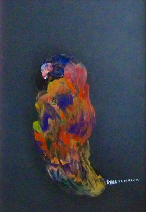 Le sorcier, peinture abstraite, Kyna de Schouël artiste peintre