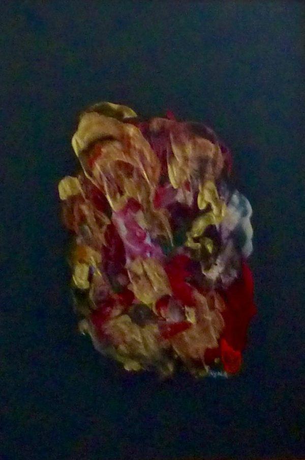 Le visage d'or, peinture abstraite, Kyna de Schouël artiste peintre