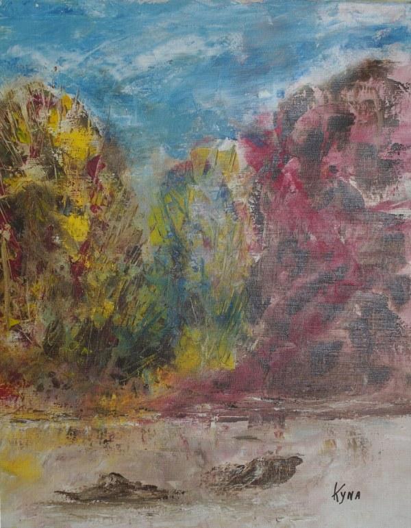 La saule, peinture abstraite, Kyna de Schouël artiste peintre