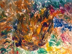 Les flammes, peinture abstraite, Kyna de Schouël artiste peintre