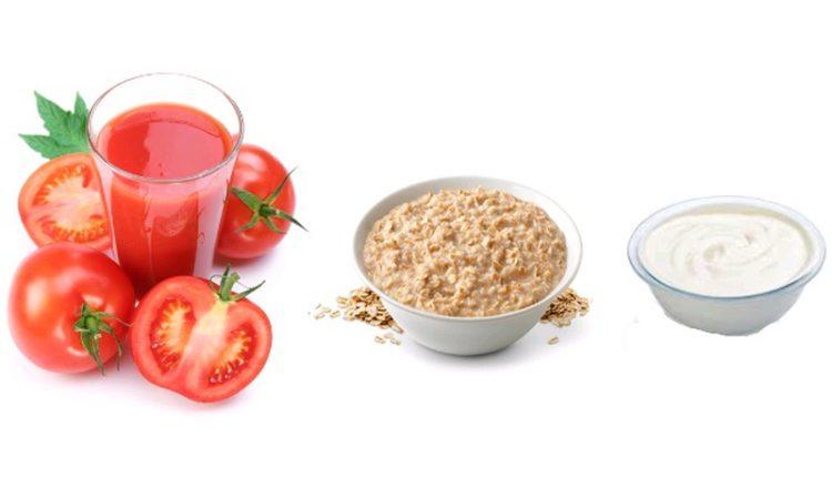 Cà chua kết hợp với Yogurt và bột yến mạch giúp bạn có làn da trắng sáng và khỏe mạnh