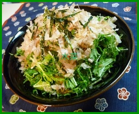 mi1 水菜のレシピ!人気 1 位 サラダは胡麻風味です。