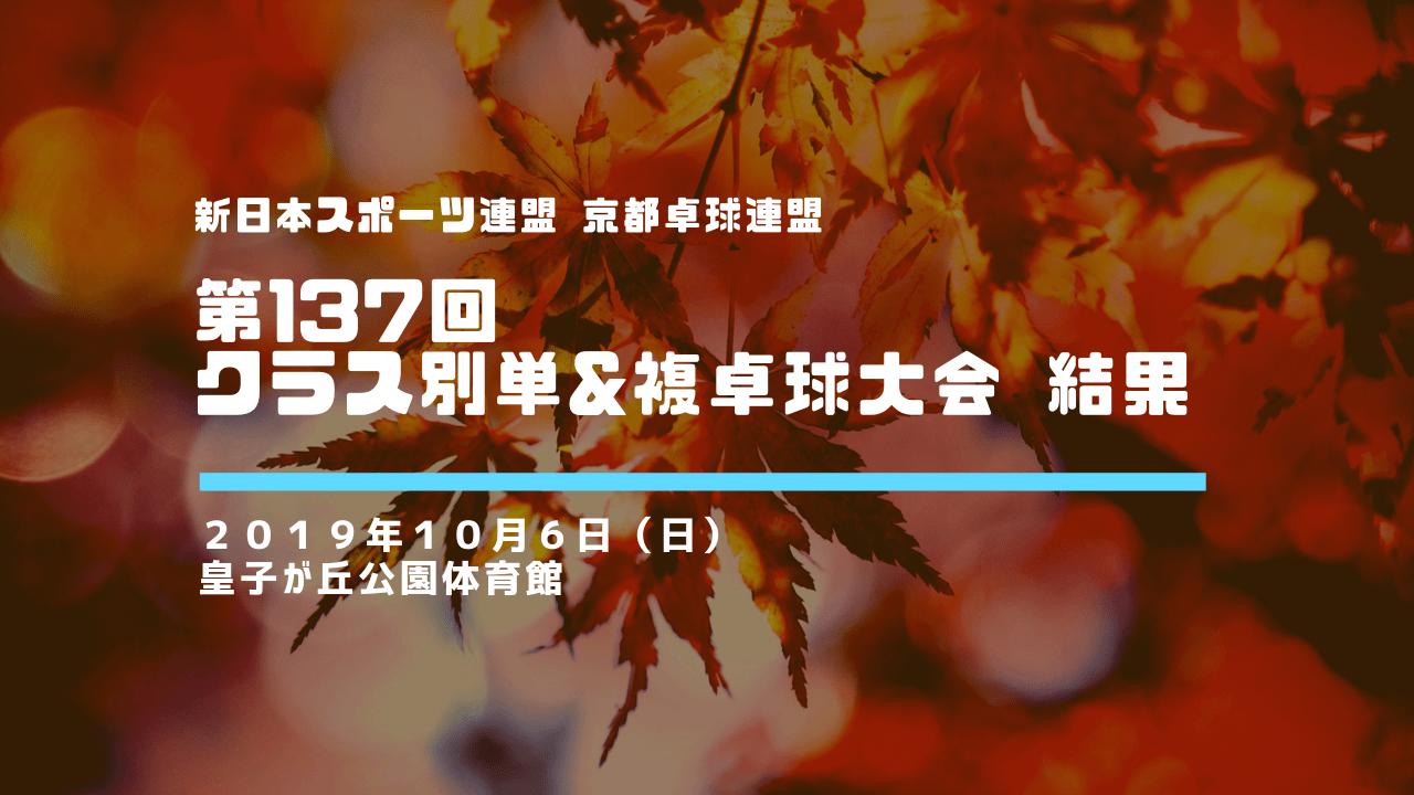 【新日本スポーツ連盟 京都卓球連盟】第137回クラス別単&複卓球大会 結果